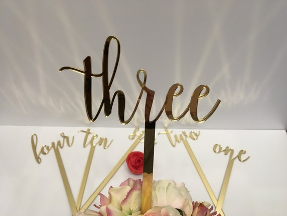 "Large wedding table numbers Script numbers Acrylic table numbers on sticks Flower arrangement numbers Gold mirror table numbers 15"" tall"