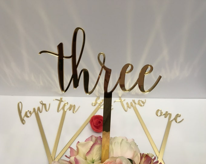 """Large wedding table numbers Script numbers Acrylic table numbers on sticks Flower arrangement numbers Gold mirror table numbers 15"""" tall"""