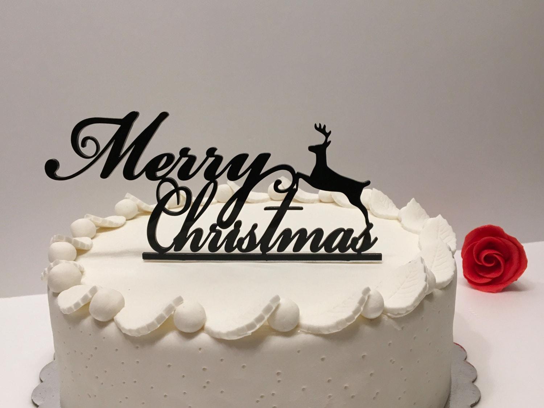 Christmas Eve Cake Topper Custom Reindeer Party Black