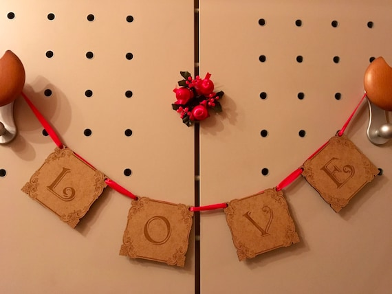 Valentines Day Love Banner Wall Hanging Love home decor Wedding banner Love garland Valentines day Wooden sign Rustic garland Custom banner