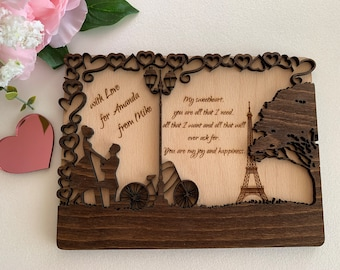 3D Personalized Engraved Wooden Love Postcards Wedding Card Valentines Day Gift Wood Holiday Card Rustic Postcard Romantic Paris Anniversary