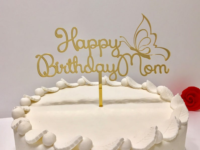 Personalized Birthday Cake Topper With Butterfly Happy