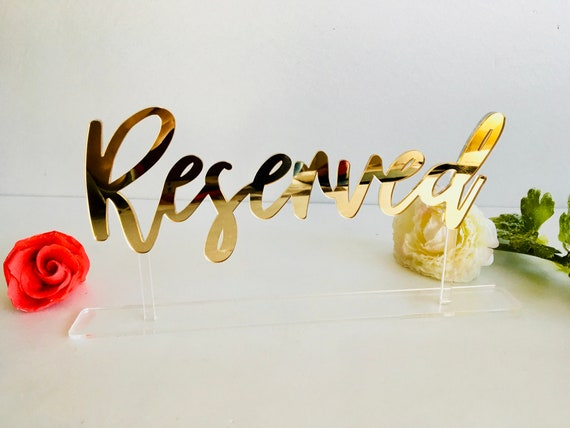 Acrylic Wedding Reserved Table Signs Clear Stands Laser Cut New Calligraphy Font Freestanding Wedding Decorations Reception Table Numbers