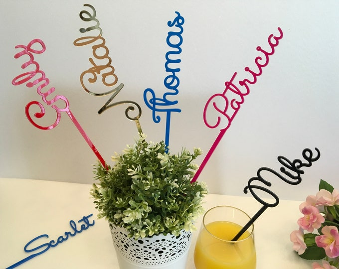 Personalised Wedding Acrylic Drink Stirrers Cocktail Table Accessories Custom Name Stir Swizzle Sticks Bachelorette Tags Bridal Shower Party