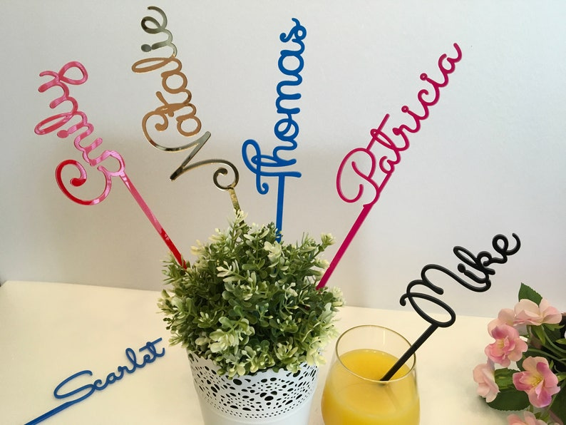 Personalised Wedding Acrylic Drink Stirrers Cocktail Table image 0