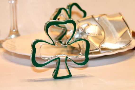 Green napkin rings Green Shamrocks Ornament Irish Wedding Decorations St Patrick's day Party gift for him Shamrock Gift for Her St Patrick's