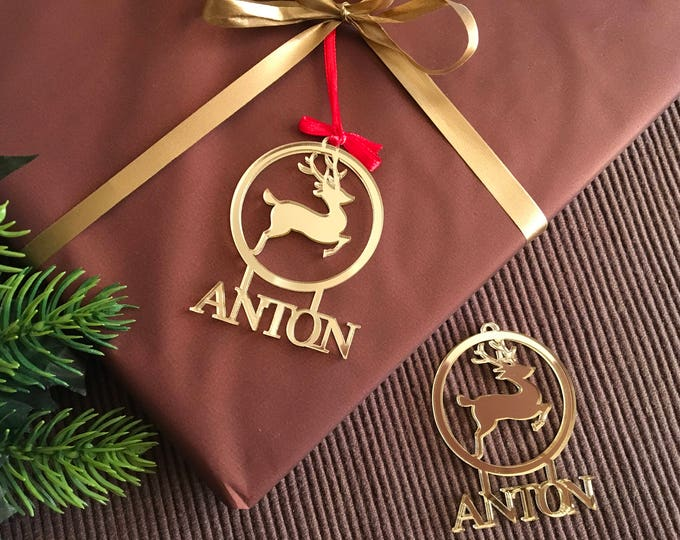 Personalized Christmas Name Gift Tags Gift Wrapping Christmas Bauble Wooden Gift Tags Name Tree Decorations Custom Reindeer Deer Ornament