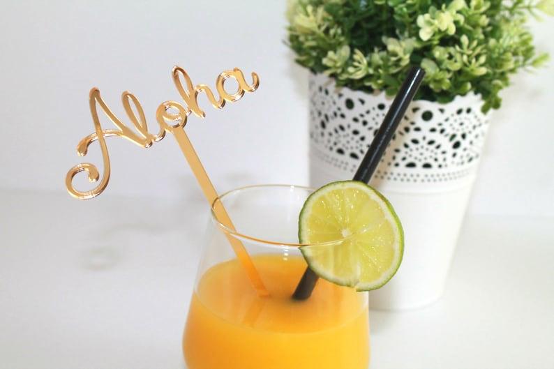 Aloha drink stirrers Personalized Aloha Luau Birthday party image 0