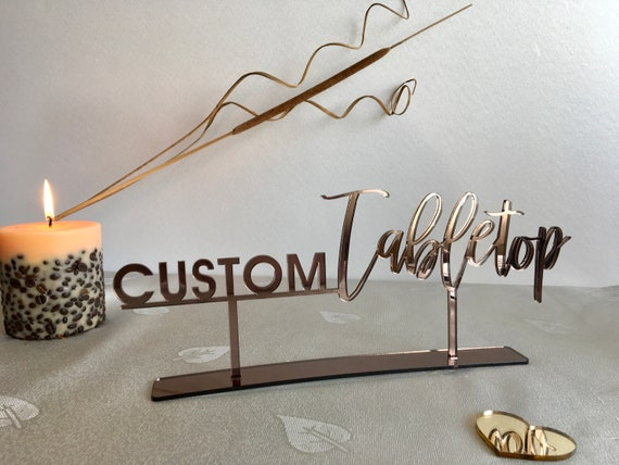 Tabletop Sign Personalized Wedding Custom Name Calligraphy Hashtag Laser Cut Acrylic Free Standing Reception Decor Event Party Welcome Wood