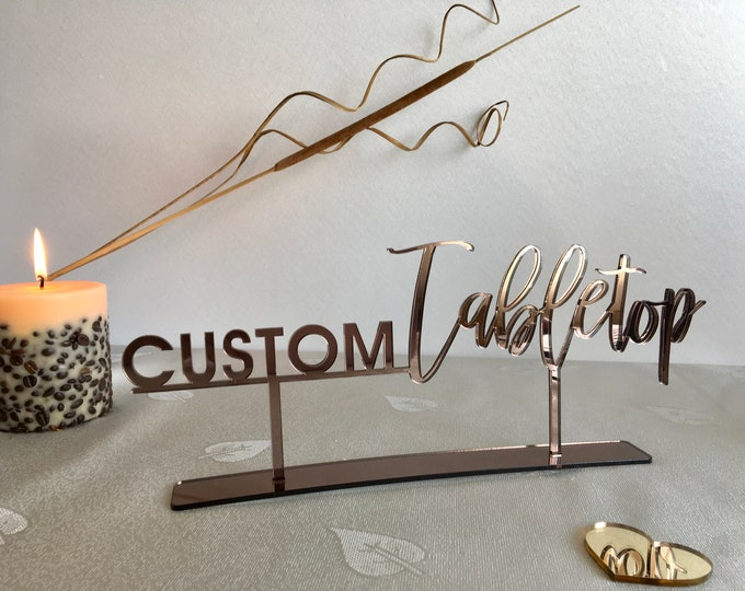 Tabletop Sign Personalized Wedding Custom Name Calligraphy Hashtag Laser Cut Acrylic Wood Free Standing Reception Decor Event Party Welcome