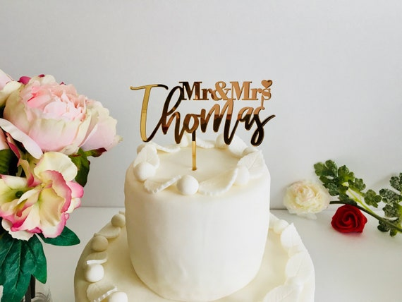 Personalized Mr and Mrs Cake Topper Wedding Cake Toppers with Heart Your Last Name Family Wood Acrylic Gold Silver Mirror Table Centerpieces