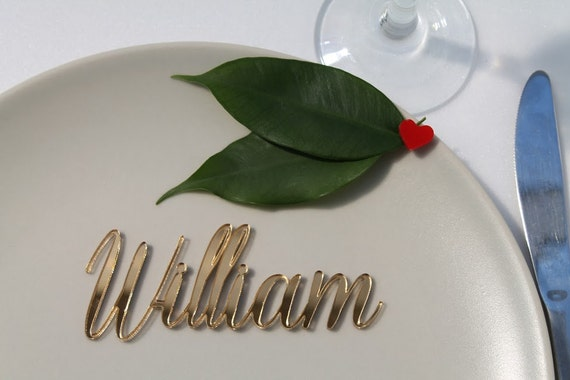 wooden laser cut guest names personalized place cards name place