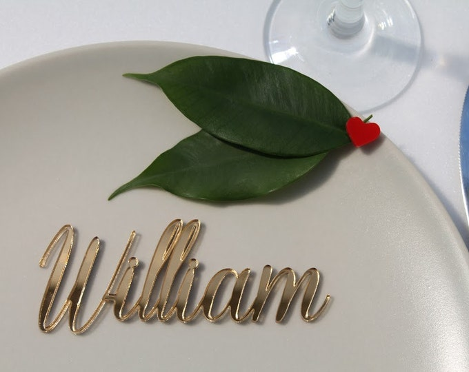 Personalized laser cut names Wedding place setting Place cards for weddings Calligraphy names Silver table sign Custom names Elegant tags