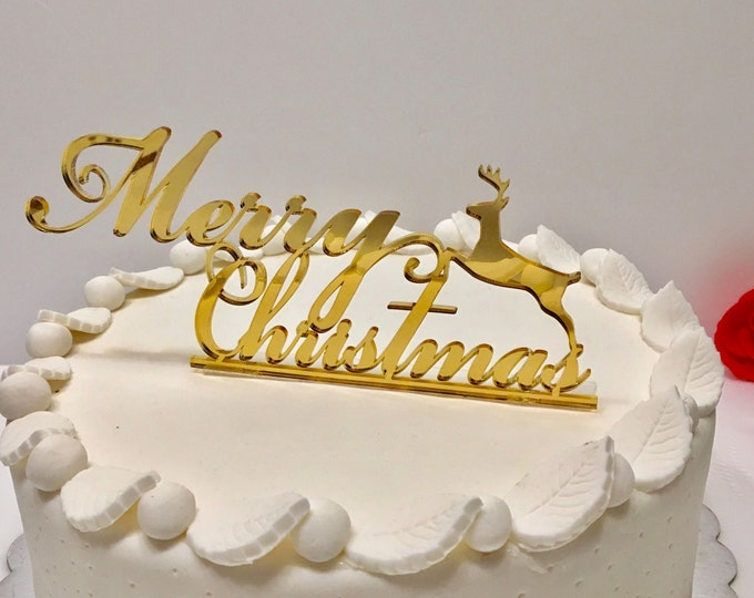 Personalized Golden Merry Christmas cake topper Cake centerpiece Custom cake topper Xmas party Reindeer decor Christmas table decorations