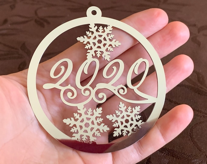 Stainless Steel 2021 Christmas Ornament Silver Metal Bauble Hanging Tree Decoration Holiday Gift Personalized Any Year Custom Name Gift Tags