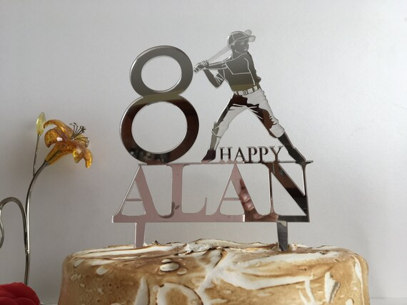 Baseball cake topper 8th Birthday Personalized Name Age Cake Topper Custom Boys Cake Topper Baseball Player Baseball Theme Happy Birthday