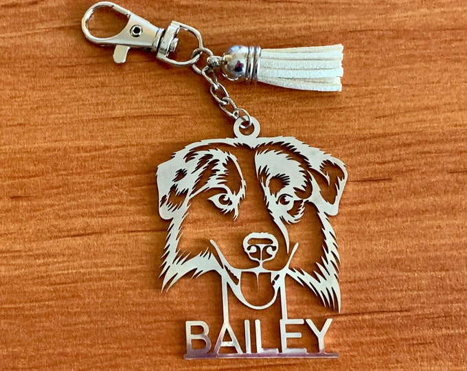 Personalized Australian Shepherd Kaychain Any Name Customized Keyring Aussie Dog Lover Pet Bag Charm Dog's Silhouette Key Chain Gift for Him
