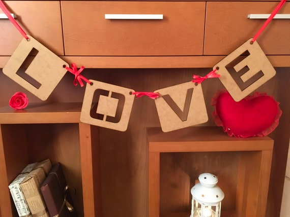 Love garland Love wood letters Bridal shower banner Love banner Valentines banner Valentine's day wall decor Wedding Sign Love Bunting Decor