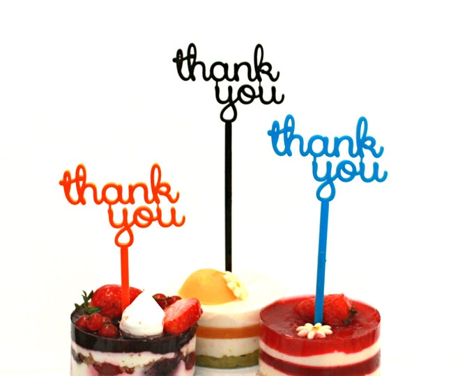 Thank You Cake Topper Picks for Thanksgiving Day Custom Cupcake Personalized Party Decorations Thanksgiving Family Party Decor Anniversary