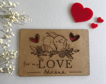 Custom greeting cards with hearts Laser cut Love card Personalized wooden gift For my Love Wood Valentines day gift Engraved birds in love