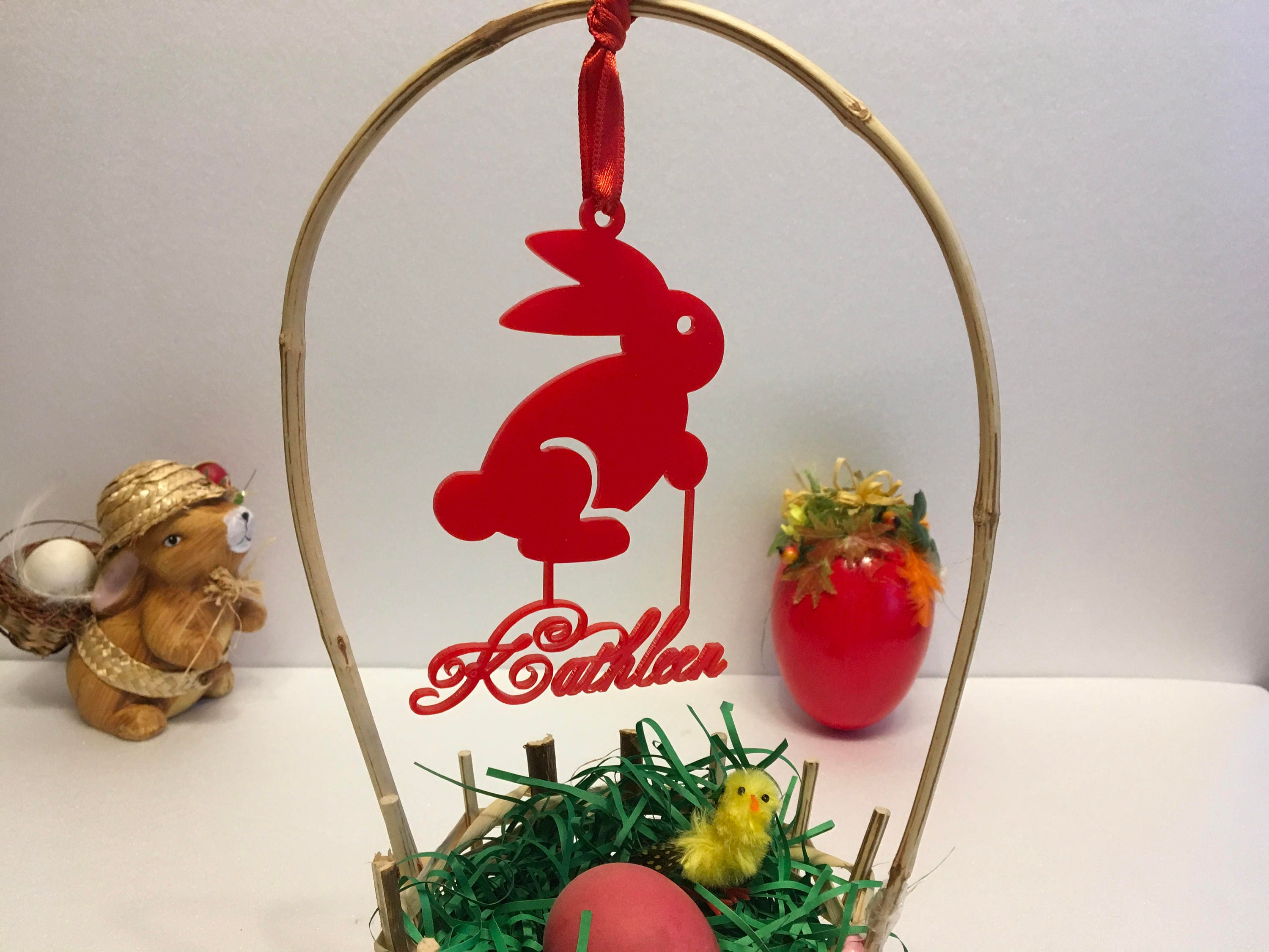 Personalized easter basket tie on personalised bunny ornament red personalized easter basket tie on personalised bunny ornament red rabbit custom family gift tags laser cut acrylic bunny babys first easter negle Image collections