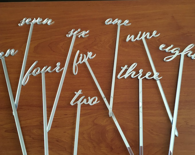 Wedding Table Numbers on Stick Wood Number Script Word Signs Tall Acrylic Wooden Mirror Flower Arrangement Reception Centerpiece Party Decor