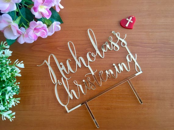 Custom Christening Cake Topper Personalized Cross Topper First Communion Baptism Religious God Bless Name cake topper Baby Christening Decor