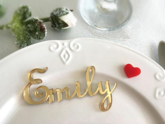 Wedding place cards Laser cut names Personalised wedding Gold acrylic names Cheap tag Laser cut signs Wedding centerpiece Wedding table sign