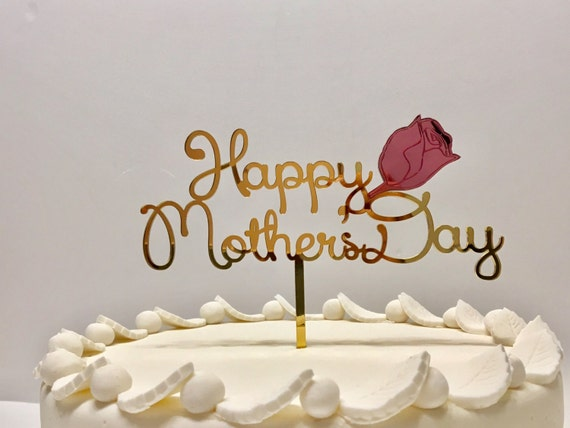 Happy Mothers day Cake toppers Rose flower Custom Mothers day gift Party favors Centerpiece Personalized mothers Gold and red Gift for Mum