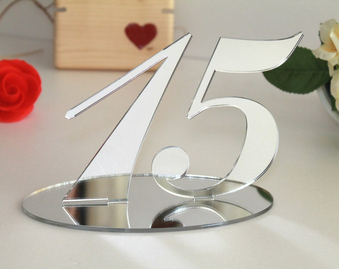 Silver Mirrored Table Numbers for Weddings, Any Color, Wedding Signs Anniversary Number Freestanding, Base Acrylic Centerpieces, 5.0 inches