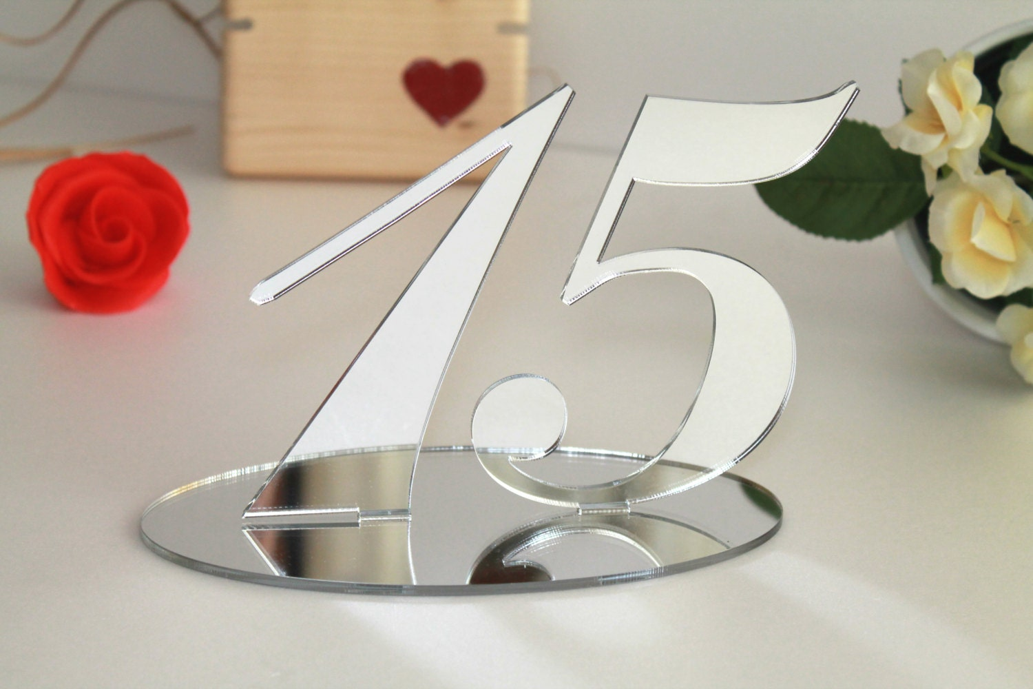 Silver mirrored table numbers Wedding signs Table decor Anniversary ...