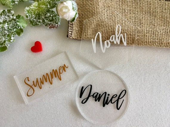 Clear Acrylic Place Cards Personalized Geometric Wedding Laser Cut Guest Names Escort Cards Custom Place settings Hexagon Circle Rectangle