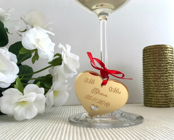 Custom save the date Personalised gift tag Save the date Wedding heart Wine Glass Charms Laser cut engraved hearts Wedding gift Heart charms