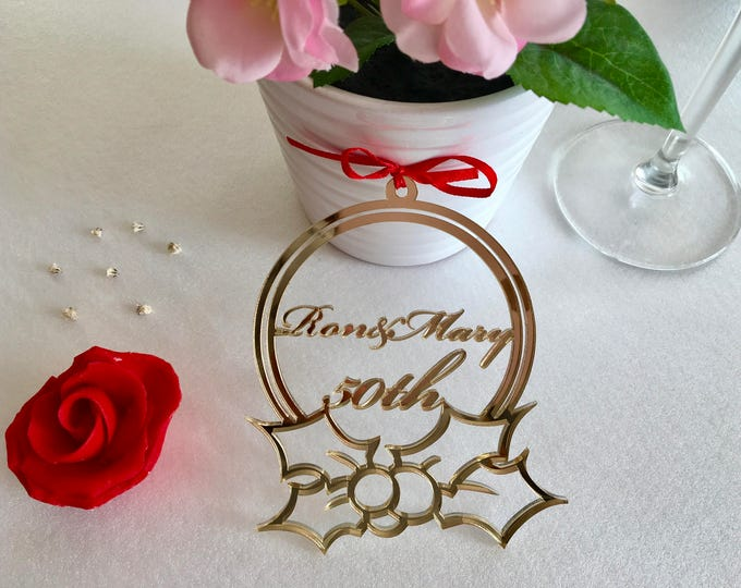 Personalized golden anniversary ornament Custom name bauble Acrylic, Wood, Gift for Couples, Mr and Mrs, Gift for Wife, 20th 30th 40th 50th
