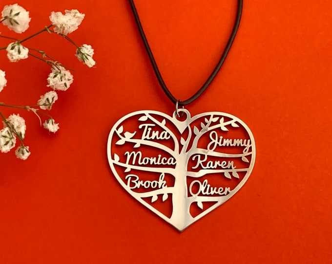 Personalized Heart Name Necklace Tree of Life Handmade Charm Pendant Custom Gifts Family Names Laser Cut Tree Stainless Steel Custom Jewelry