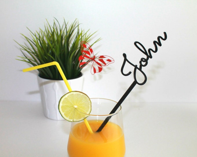 Personalized name drink stirrers Cocktail accessories Wedding decor Personalised swizzle stick Beach party decorations Custom stir sticks