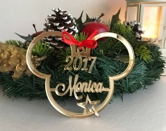 Personalized Mickey Mouse First Christmas Ornament 1st Xmas Memory Keepsake Gift Disney Minnie Mouse Bauble Decorations Mickey Mouse Ears