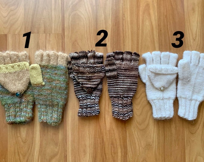 Convertible Gloves Hand Knit Fingerless Gloves for Girl, Mom, Knitted Gloves Convertible Mittens Winter Color Fingerless Women Hand Warmers