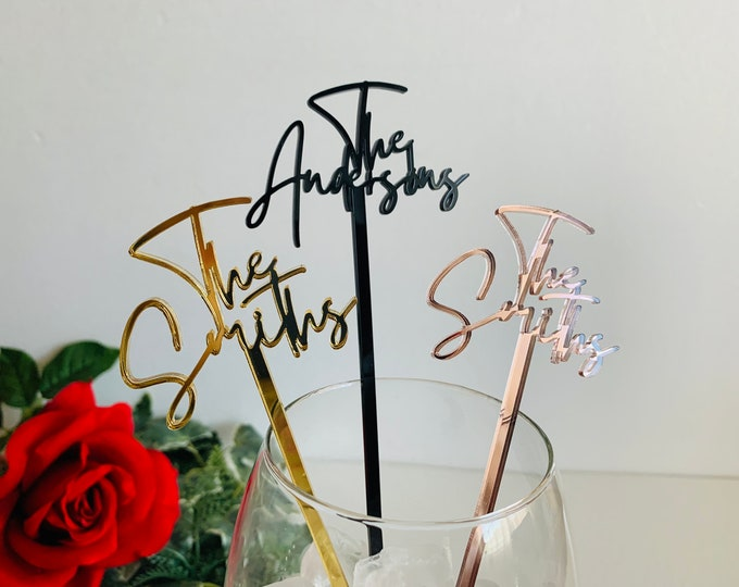 Personalized Name Drink Stirrers Custom Hand Lettered Calligraphy Stir Swizzle Sticks Cocktail Bar Accessories Wedding Table Centerpiece