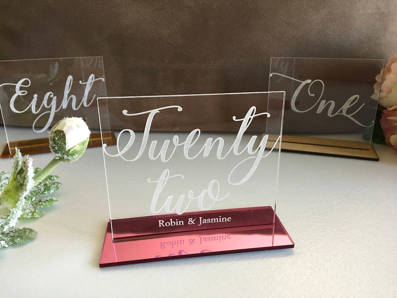 Clear Acrylic Engraved Table Numbers Calligraphy Wedding Decor image 0
