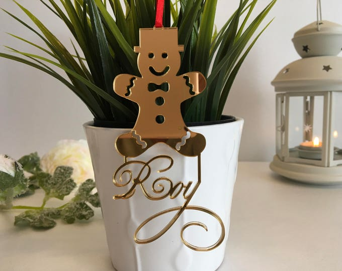 Custom Gingerbread Man Personalized kids gift Christmas tree decorations Gingerbread man Personalized hanging ornament Baby first Christmas