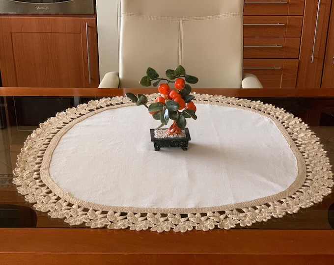 Natural Linen Lace Doily Crochet Round Handmade Large Table Topper Cotton Tablecloth Beige Centerpiece Vintage Gift for Mom Table Runner
