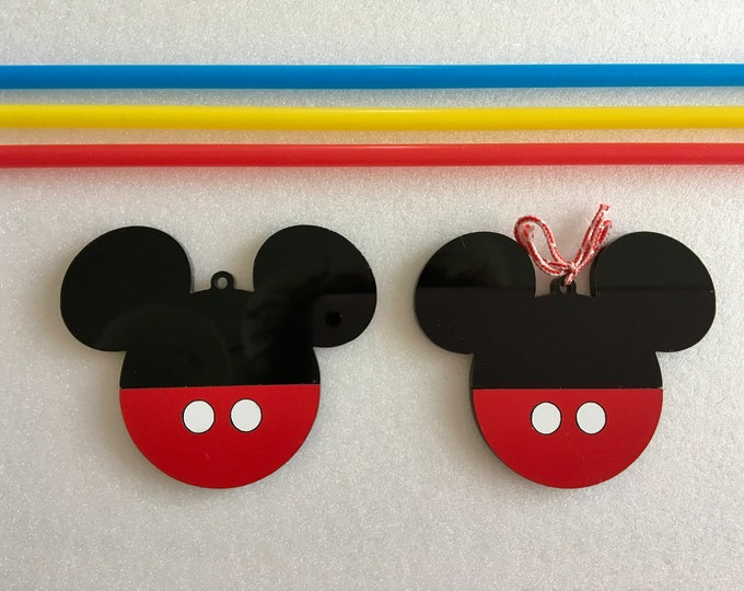 Minnie Mouse First Birthday Party Decoration Disney Mickey Mouse Ears Black Ornaments Girl Red Ribbon Hanging Acrylic Tree Decor Baby shower