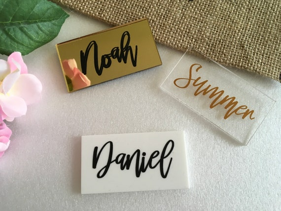 Personalized Acrylic Place Cards Wedding Tags Escort Cards Place settings Laser Cut Names Calligraphy Script Written Names Rectangle Shape