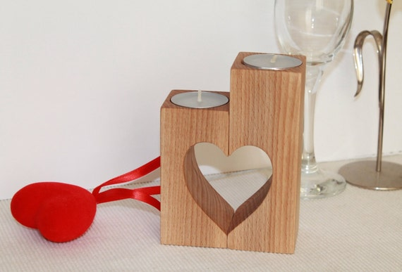 Valentines day gift Wood candle holders Heart shaped Wedding gift Tea light holder Table centerpiece Home decoration Rustic Wooden Decor