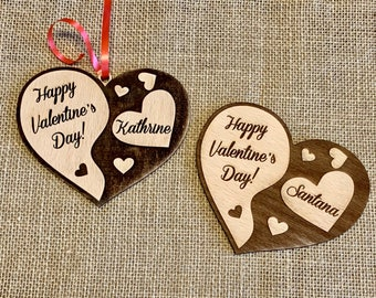 Personalized Wooden Heart Ornament and Custom Engraved Name Happy Valentine's Day Love Postcard Gift for Her Wood Rustic Handmade Decoration