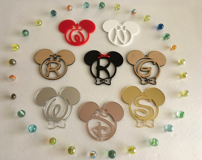 Mickey Mouse Initial Letter Ornament Monogram Disney Birthday Decorations Personalized Baubles 1st Birthday Gifts Custom Minnie Mouse Head