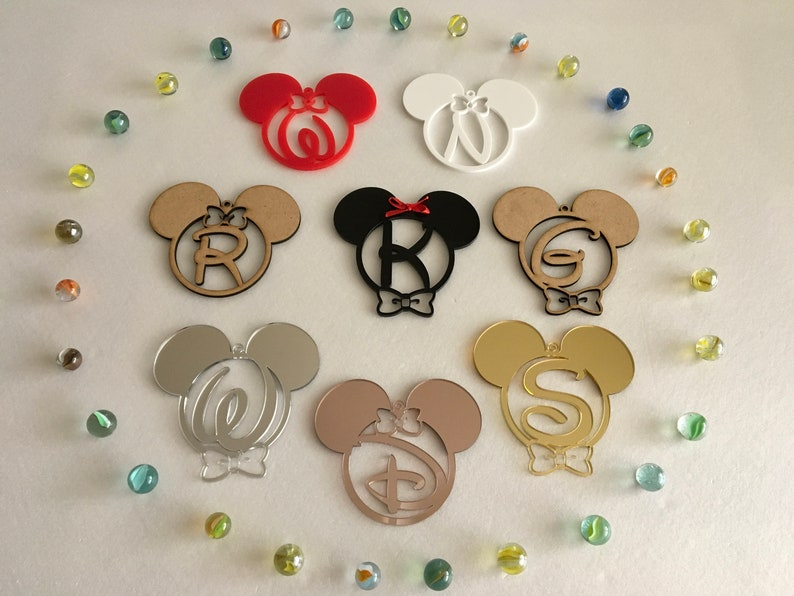 Mickey Mouse Initial Letter Ornament Monogram Disney Birthday image 0