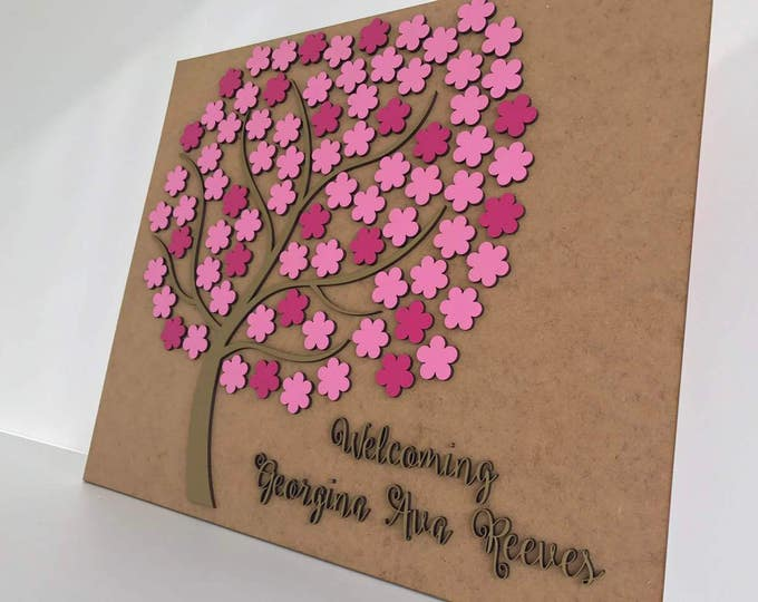 Personalized Wedding Wood Guestbook Alternative 3D Wooden Custom Guest Book Flowers Unique Tree of Life Wedding Decorations Bride and Groom
