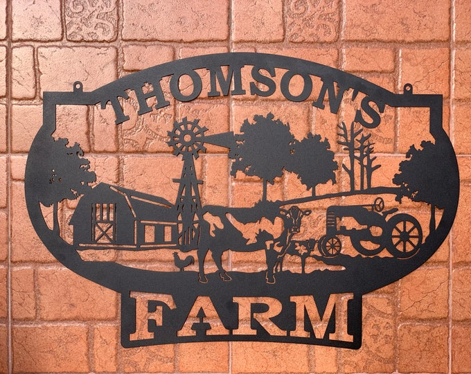 Personalized Farm Name Sign Custom Farm House Metal Wall Art Gift for Him Farmhouse Hanging Outdoor Decor Plaque Chicken Cow Barn Tractor